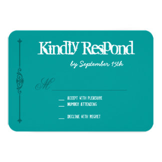 Teal Turquoise Blue Typography Wedding RSVP Cards 9 Cm X 13 Cm Invitation Card