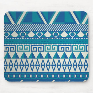 Teal Turquoise Blue Zigzag Pattern Mouse Pad