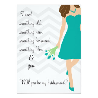 Teal Turquoise Chevron Will You Be My Bridesmaid Card