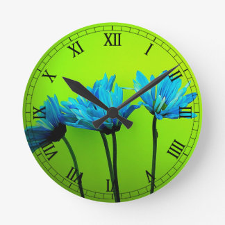 Teal Turquoise Daisies on Lime Green Flowers Gifts Wall Clocks