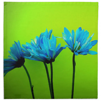 Teal Turquoise Daisies on Lime Green Flowers Gifts Napkin