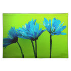 Teal Turquoise Daisies on Lime Green Flowers Gifts Placemat