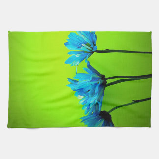 Teal Turquoise Daisies on Lime Green Flowers Gifts Tea Towel