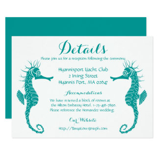 Teal Turquoise Details Seahorse Beach Wedding Card