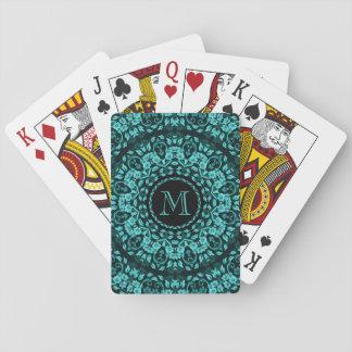 Teal Turquoise Floral Mandala Monogram Playing Cards