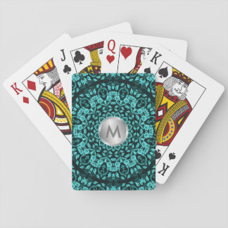 Teal Turquoise Floral Mandala Playing Cards