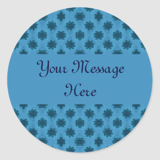 Teal Turquoise Floral Pattern Classic Round Sticker