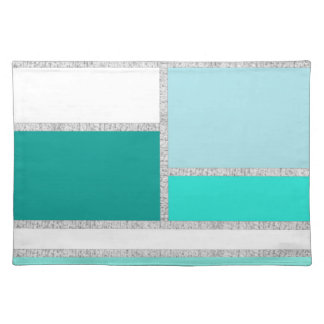 Teal & Turquoise Geometric Blocks Placemat