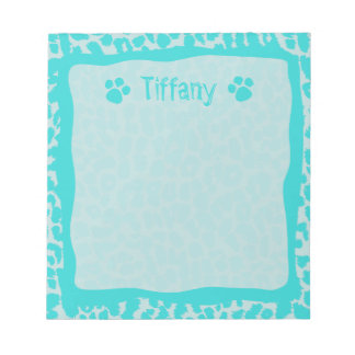 Teal Turquoise Leopard Cheetah Animal Notepad