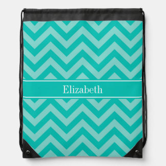 Teal Turquoise LG Chevron Teal Name Monogram Drawstring Bag