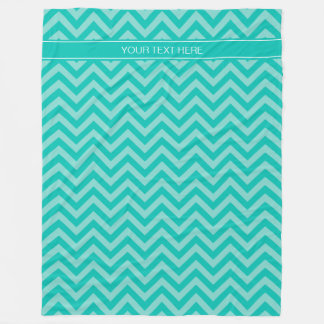 Teal Turquoise LG Chevron Teal Name Monogram Fleece Blanket