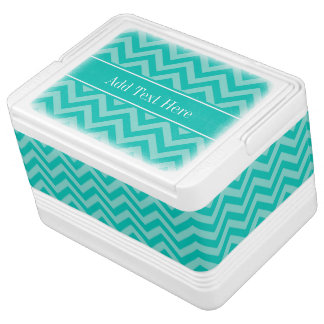 Teal Turquoise LG Chevron Teal Name Monogram Igloo Cooler