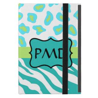 Teal Turquoise, Lime Green Zebra & Cheetah Skin iPad Mini Case