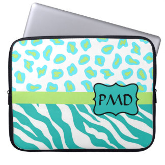 Teal Turquoise, Lime Green Zebra & Cheetah Skin Laptop Computer Sleeve