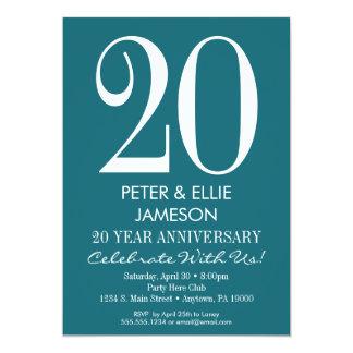 Teal Turquoise Modern Anniversary Invitations