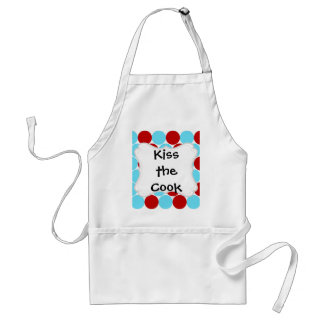 Teal Turquoise Red Big Polka Dots Pattern Gifts Adult Apron