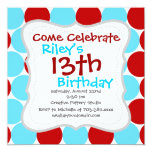 Teal Turquoise Red Big Polka Dots Pattern Gifts 13 Cm X 13 Cm Square Invitation Card