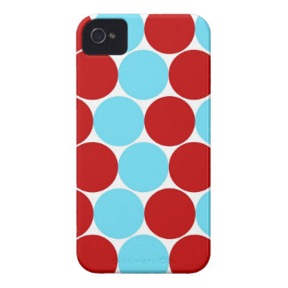 Teal Turquoise Red Big Polka Dots Pattern Gifts iPhone 4 Case-Mate Case