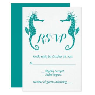 Teal Turquoise RSVP Seahorse Beach Nautical Card