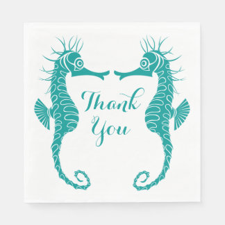 Teal Turquoise Thank You  Seahorse Beach Wedding Disposable Serviettes