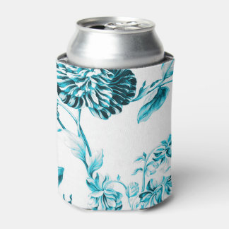 Teal Turquoise Vintage Botanical Floral Toile No.2 Can Cooler