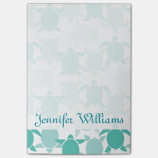 Teal Turtle Pattern | Add Your Name Post-it Notes