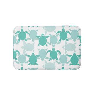 Teal Turtle Pattern Bath Mat