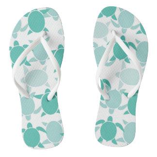 Teal Turtle Pattern Flip Flops