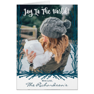 Teal Twigs Joy To The World Christmas Photo Card