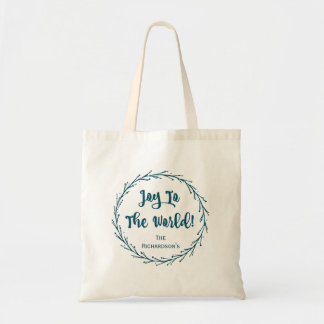 Teal Twigs Wreath Joy To The World Christmas Tote Bag