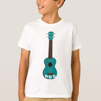 teal ukulele hibiscus design T-Shirt