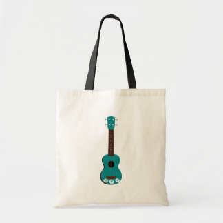 teal ukulele hibiscus design tote bag