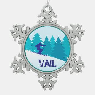 Teal Vail Ski Circle Snowflake Pewter Christmas Ornament