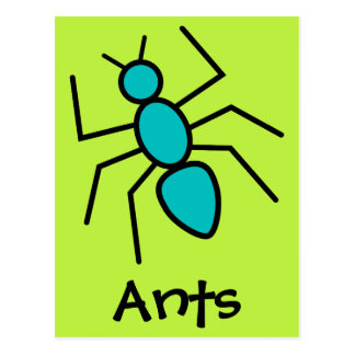 Teal Vector Ant (Green Background) Post Cards