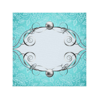 teal,vintage,chic,pearls,silver,lace,pattern,white canvas prints
