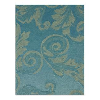 Teal vintage damask victorian elegant chic fabric postcard