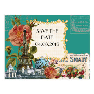 Teal Vintage Eiffel Tower Rose Save the Date Card Postcard