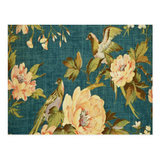 teal,vintage,floral,bird,victorian,wallpaper,patte postcard