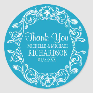 Teal Vintage Floral Wreath Wedding Favor Round Sticker