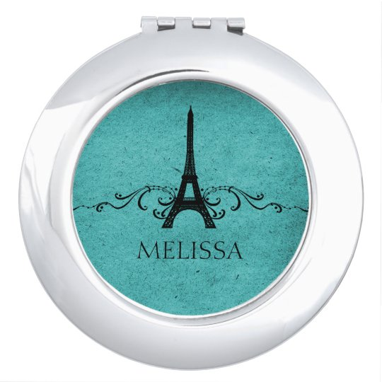 Teal Vintage French Flourish Mirror For Makeup