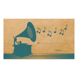 Teal Vintage Gramophone Place Card Business Card Template