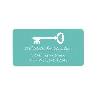 Teal vintage key to my heart wedding address label