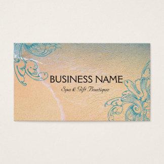 Teal Vintage Retro Sea Shell Scroll Beach Business Card