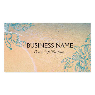 Teal Vintage Retro Sea Shell Scroll Beach Pack Of Standard Business Cards