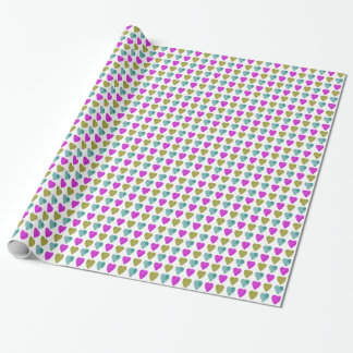 Teal, Violet, and Chartreuse Green Hearts Print Wrapping Paper