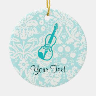 Teal Violin Round Ceramic Decoration