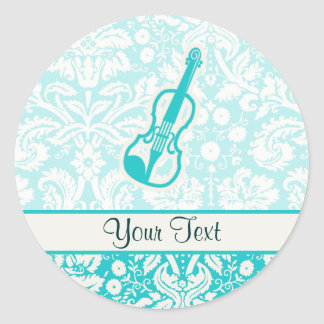Teal Violin Round Sticker