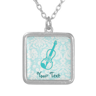 Teal Violin Silver Plated Necklace