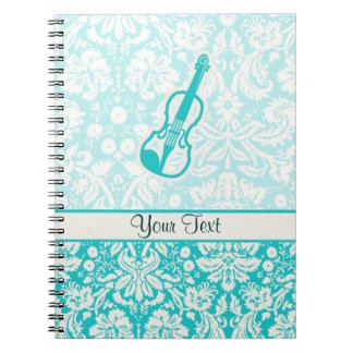 Teal Violin Spiral Notebook