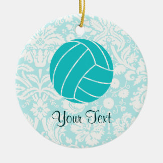Teal Volleyball Christmas Ornament